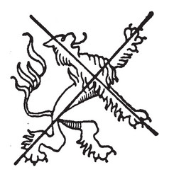 Heraldic lion is a common charge in heraldry vector
