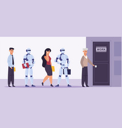 human and robot recruitment people and artificial vector image