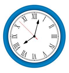 Ilustration blue wall clock over white vector