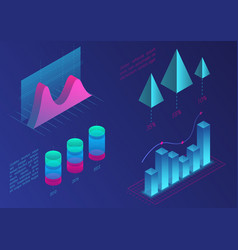Infographic isometric graph elements data vector
