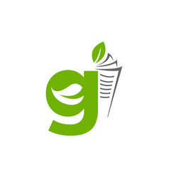 initial letter g with paper and leaf shape in vector image