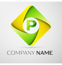 Letter P logo symbol in the colorful rhombus vector image