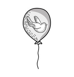 line cute balloon with dove animal design vector image