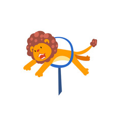 Lion jumping through ring cute animal performing vector