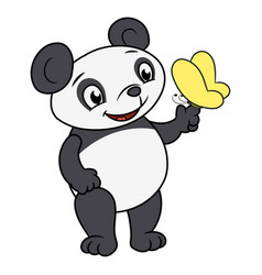 Little panda and butterfly 2 vector
