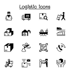 logistic delivery icons set graphic design vector image