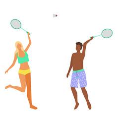 man and woman in bikini have fun playing badminton vector image