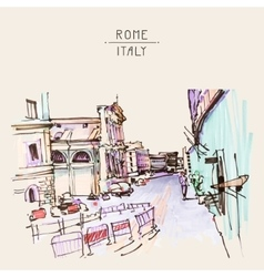 Marker drawing rome italy street landscape vector