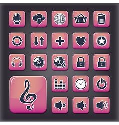 Media player universal buttons vector