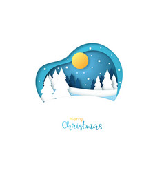 merry christmas greeting card paper art style vector image
