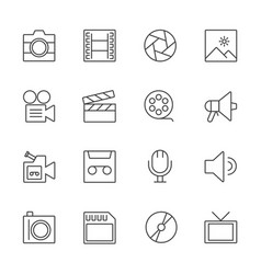 Movie and multimedia information technology icons vector