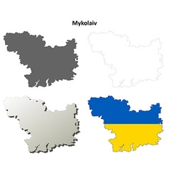 Mykolaiv blank outline map set vector image