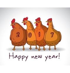 New year greeting chicken card with sign vector image