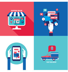 online shopping e-commerce mobile payment and vector image