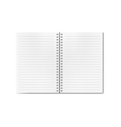open realistic lined notebook on spiral vector image