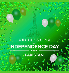 Pakistans flag balloons for independence day on vector