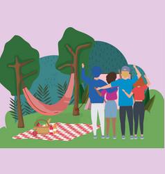 people waving hand hammock blanket tent trees vector image