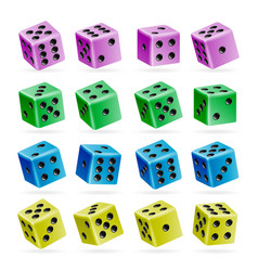 playing dice set 3d realistic cubes with vector image