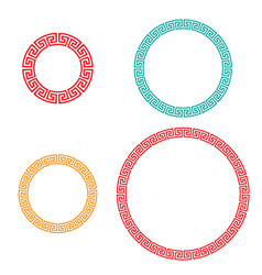 Retro chinese circle window and photo frame vector