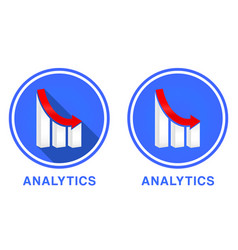 round flat analytics icon graph with different vector image