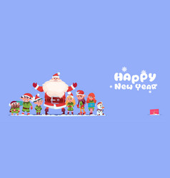 santa claus with elfs on happy new year greeting vector image