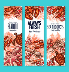 Seafood and fish food product banners vector