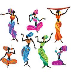 Set african women in ethnic dress vector