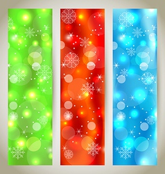 Set Christmas glossy banners with snowflakes vector
