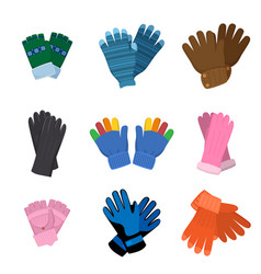 Set different pairs colorful gloves for kids vector
