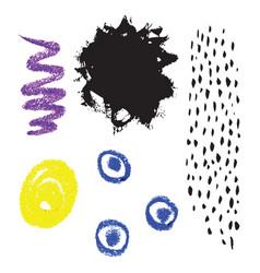 Set hand drawn ink and wax crayon vector