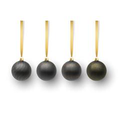 set of black christmas ball vector image