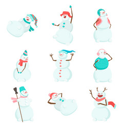 set of funny and funny snowmen funny snowmen in vector image