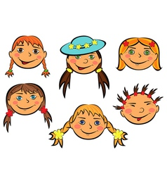 Set of six funny girls faces vector image vector image