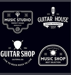 Set vintage logo badge emblem for music shop vector