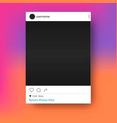 social network post photo frame mockup vector image