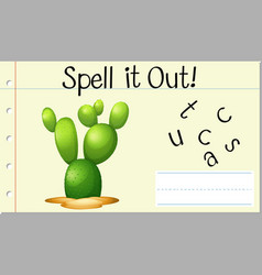 Spell english word cactus vector