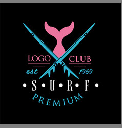 Surf club premium logo est 1969 creative badge vector