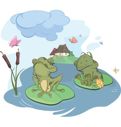 The enamored young frog cartoon vector image