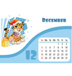 Tiger desk calendar design template for december vector