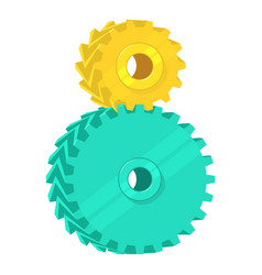 two cogs icon cartoon style vector image