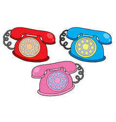 Various colors telephones vector