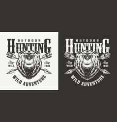 vintage bear hunting monochrome label vector image