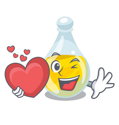 With heart sesame oil in a mascot bowl vector