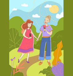 Young couple with pregnant wife walking hand vector