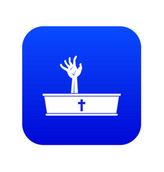 zombie hand coming out of his coffin icon digital vector image
