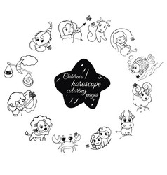 children s horoscope coloring pages vector image vector image