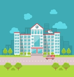 City Hospital Building with Ambulance in Flat vector image vector image