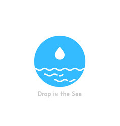 drop in the sea simple logo vector image