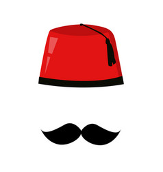 Red turkish hat fez and black mustache vector