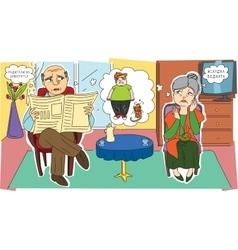 Sad grandparents and their grandchild vector